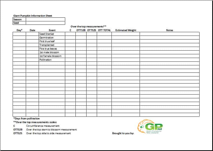 Free Download – Giant Pumpkins Tracking Sheet