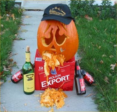 Throwing up pumpkin had too much to drink