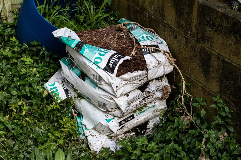 Piles of old compost bags