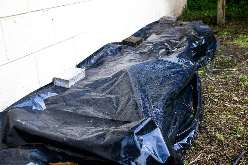 Polythene used to cover small garden to kill weeds