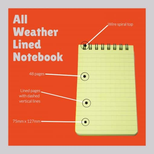 All Weather Lined Notebook Features