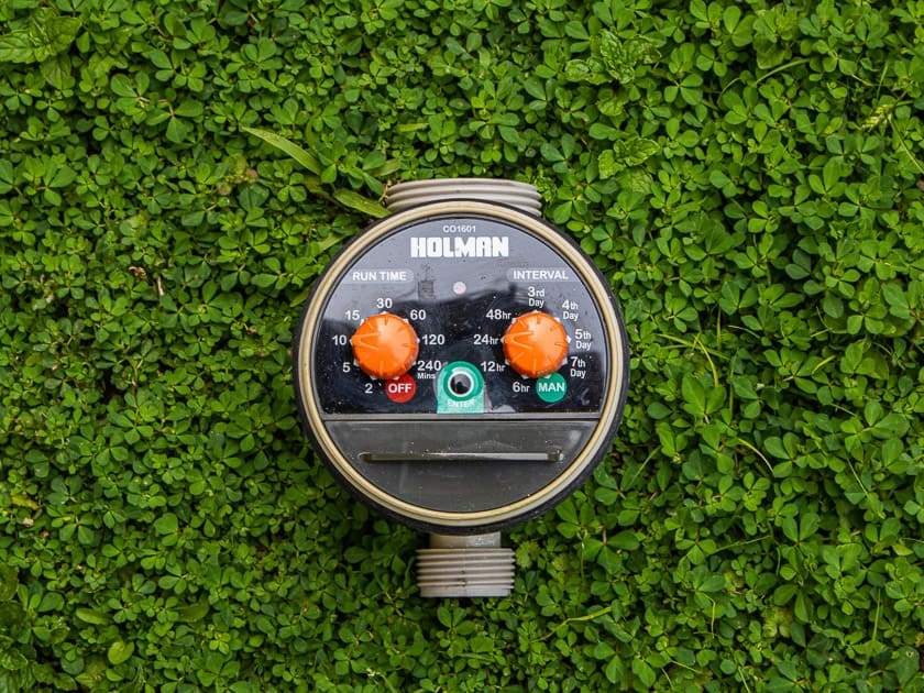 Holman water timer with dials